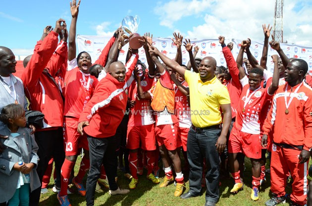 Ulinzi Stars players celebrate after winning the KPL U2-