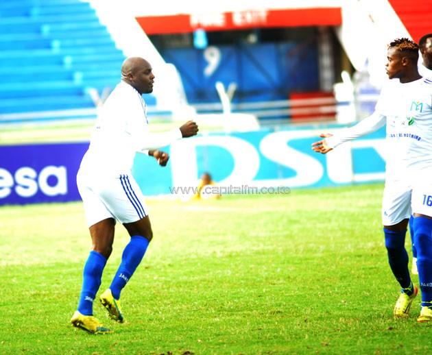 Muhoroni Youth striker Wycliffe Ochomo in a past SPL match.PHOTO/Raymond Makhaya