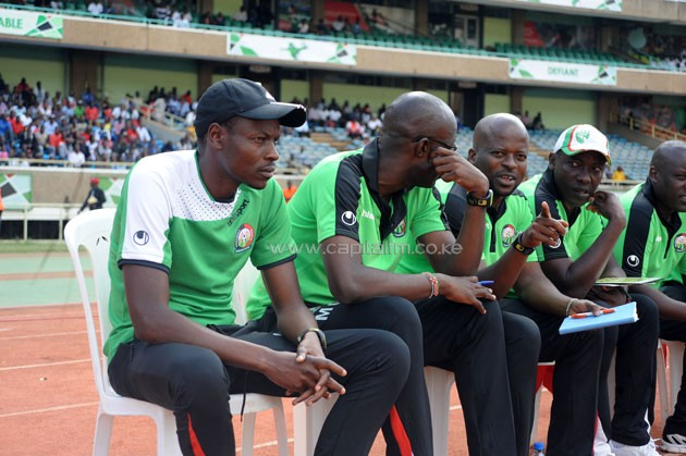 Harambee Stars head coach Stanley Okumbi (left) on the technical bench when Kenya played against Congo Brazzaville in a 2017 AFCON Qualifier.PHOTO/Raymond Makhaya.