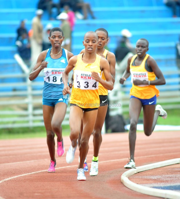 Sandrafelis Chebet leading the pack in the women's 3000m during the Wotld Jounior Trials.PHOTO/Raymond Makhaya.