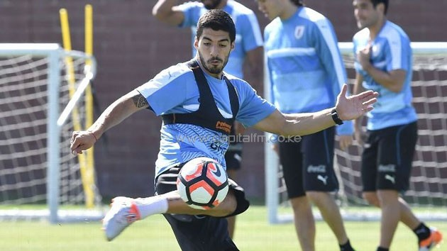 Barcelona star Luis Suarez is training with Uruguay but is not yet ready to return.PHOTO/Courtesy.