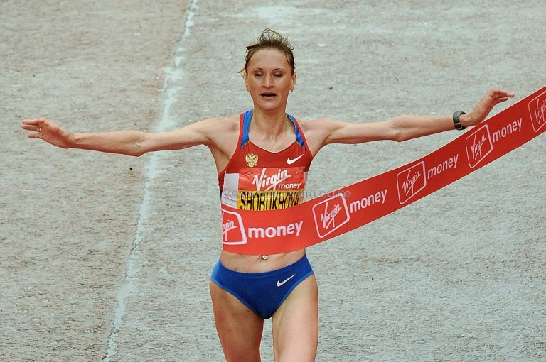 Disgraced Russian athlete Liliya Shobukhova is banned for life from the London Marathon over doping offences. PHOTO/AFP.