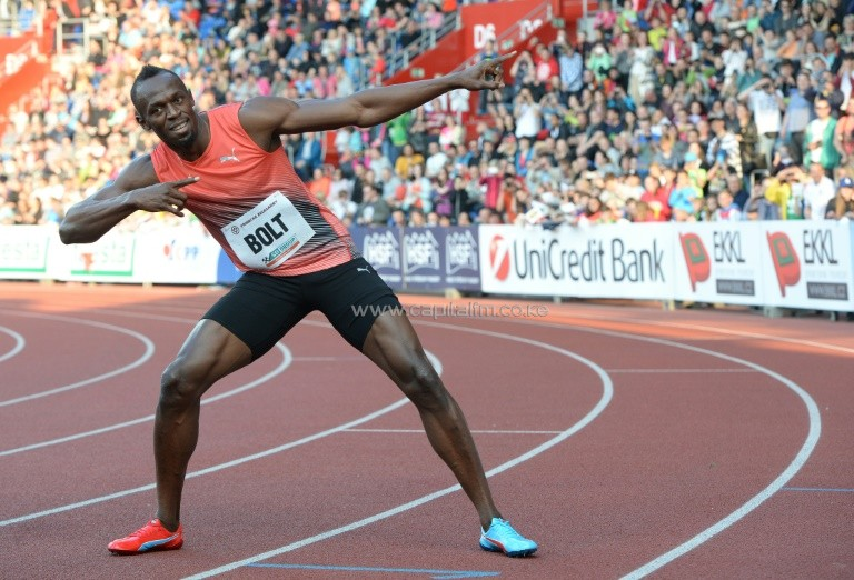 Usain Bolt of Jamaica poses after winning the Men's 100m event at the IAAF World challenge Zlata Tretra athletics tournament in Ostrava, on May 20, 2016. PHOTO/AFP.