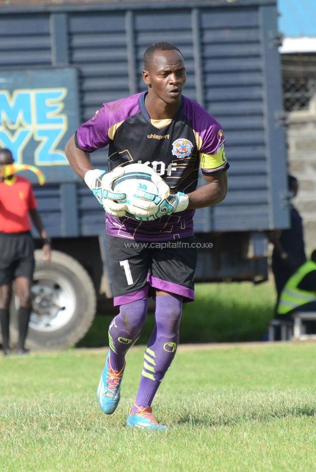 Ulinzi Stars keeper James Saruni prepares to launch an attack during a past match. PHOTO/Timothy Olobulu.