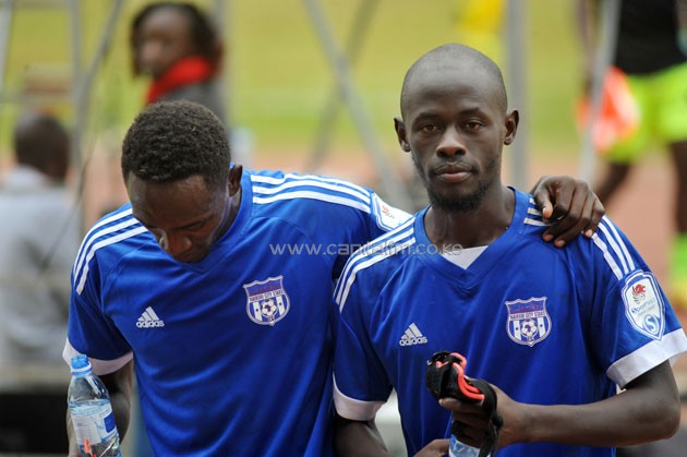 Nairobi City Stars Ezekiel Odera with team-mate.PHOTO/Raymond Makhaya.