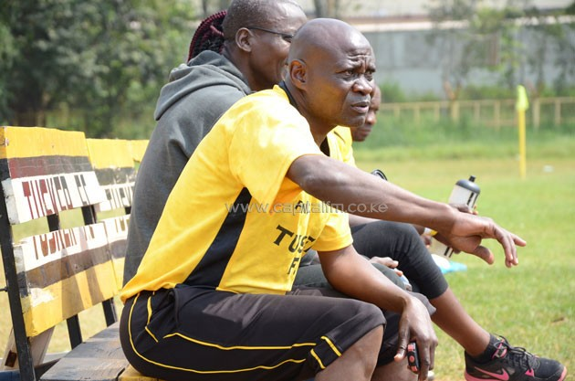 Tusker FC head coach Paul Nkata issuing instructions when his team beat Mount Kenya University 4-0 in a friendly match played at their Ruaraka Grounds backyard on Thursday, July 7, 2016.PHOTO/Timothy Olobulu.