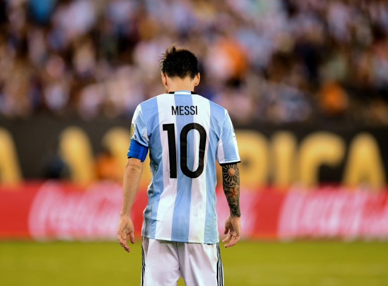 Argentina's Football Association head said he will visit Spain to meet with star striker Lionel Messi, pictured on June 26, 2016, to try to convince him to reconsider his retirement from international football