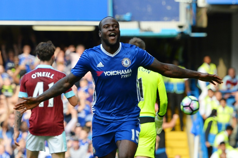 Chelsea's Nigerian midfielder Victor Moses celebrates after scoring during a English Premier League football match between Chelsea and Burnley at Stamford Bridge in London on August 27, 2016, which Chelsea won 3-0