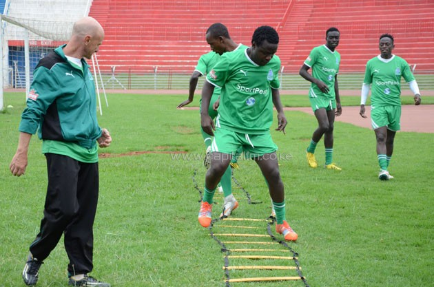 Gor Mahia's Collins Okoth going through the paces in a past training session.PHPTO/Timothy Olobulu