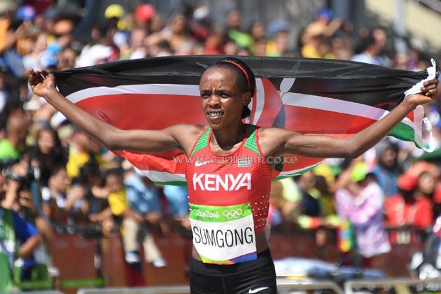 Jemima Sumgong celebrating after writing history as the first ever Kenyan to win the women's Olympic gold in Rio Games.