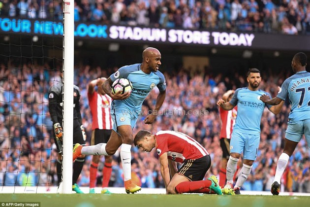 Sergio Aguero's penalty, after Raheem Sterling was fouled by Patrick van Aanholt, gave City an early lead.