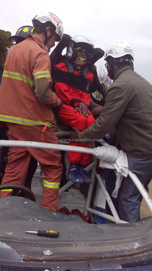 Picture of doctors put on a drill of rescuing injured driver at Simba Union.