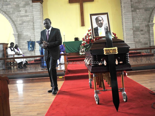 The late Isaiah Kiplagat, a former AK President was buried on Wednesday at his home in Kapseret, Eldoret, Uasin Gishu County. PHOTO/Raymond Makhaya.