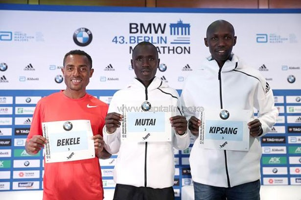 Kenenisa Bekele, Emmanuel Mutai and Wilson Kipsang at the pre-race press conference in Berlin (Victah Sailer/organisers) © Copyright