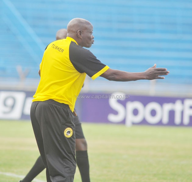 Tusker FC head coach paul Nkata gives instructions on thE touchline as the brewers drew 1-1 with Ushuru on September 11. PHOTO/RAYMOND MAKHAYA