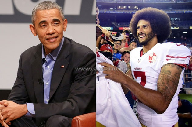 "Barack Obama says Colin Kaepernick's protest is a good example of the ""active citizenry"" that is essential to the democratic process. Photo: AP (left), Getty Images."