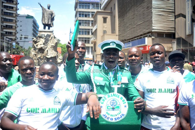 Gor Mahia fans praying for good results and peace.PHOTO/Raymond Makhaya