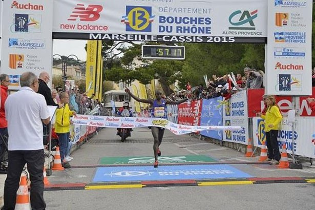 Edwin Kipyego wins the 2015 Marseille-Cassis 20km (Michel Fisquet) © Copyright