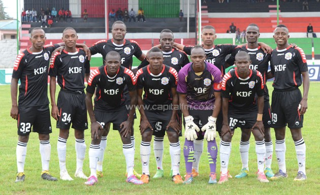 Ulinzi Stars players line up for a group photo before their 4-1 win against Kariobangi Sharks in a GOtv Shield Semi final on October 1 at Nakuru's Afraha Stadium. PHOTO/TIMOTHY OLOBULU