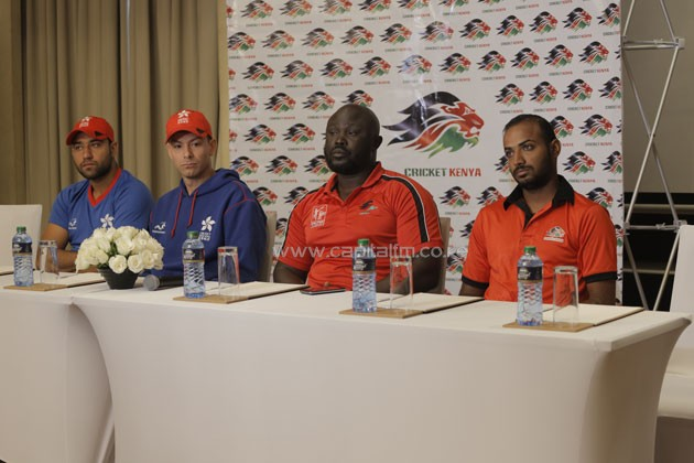 From left to right, Hong Kong Captain Babar Hayat, Hong Kong Coach Simon Cook, Kenyan Coach Thomas Odoyo, and Kenyan Captain Raket Patel.