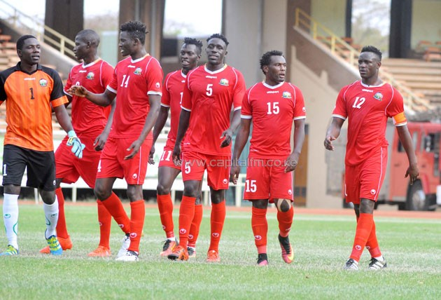 Harambee Stars players walk off the pitch at half time during a friendly match against Mozambique on November 12, 2016. PHOTO/Raymond Makhaya