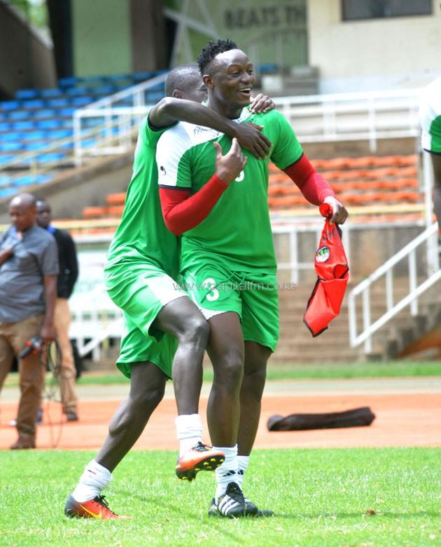 Harambee Stars captain Victor Wanyama in happy moods during the national team training at the Kasarani Stadium. PHOTO/Raymond Makhaya