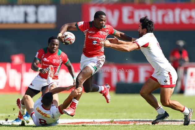 December 03, 2016; Dubai, United Arab Emirates; #7 Kenya vs. Canada during the HSBC World Rugby Men's Sevens Series Challenge Trophy Quarter Finals match at The Sevens Stadium. Photo credit: Michael Lee - Taiwan Mike Photography