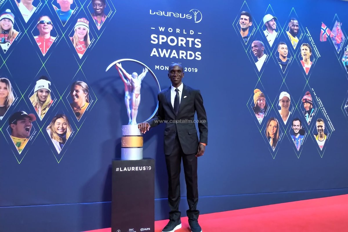 Eliud - Eliud Kipchoge wins trophy at Laureus Awards