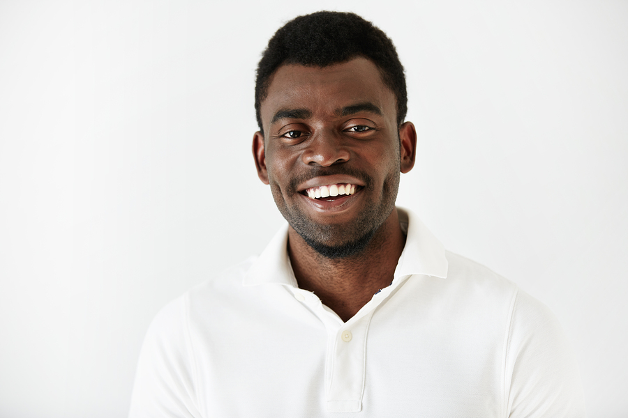 Close Up Portrait Of Handsome Successful Young Dark Skinned Male